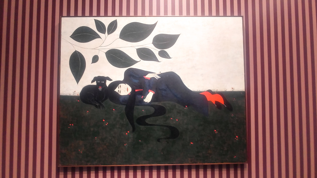 Woman Lying with Dog and Spider, di Clare Rojas, esposta nel booth di Soco Gallery. Photo Maurita Cardone