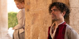 Haley Bennett stars as Roxanne and Peter Dinklage as Cyrano in Joe Wright's CYRANO A Metro Goldwyn Mayer Pictures film Photo credit: Peter Mountain © 2021 Metro-Goldwyn-Mayer Pictures Inc. All Rights Reserved.