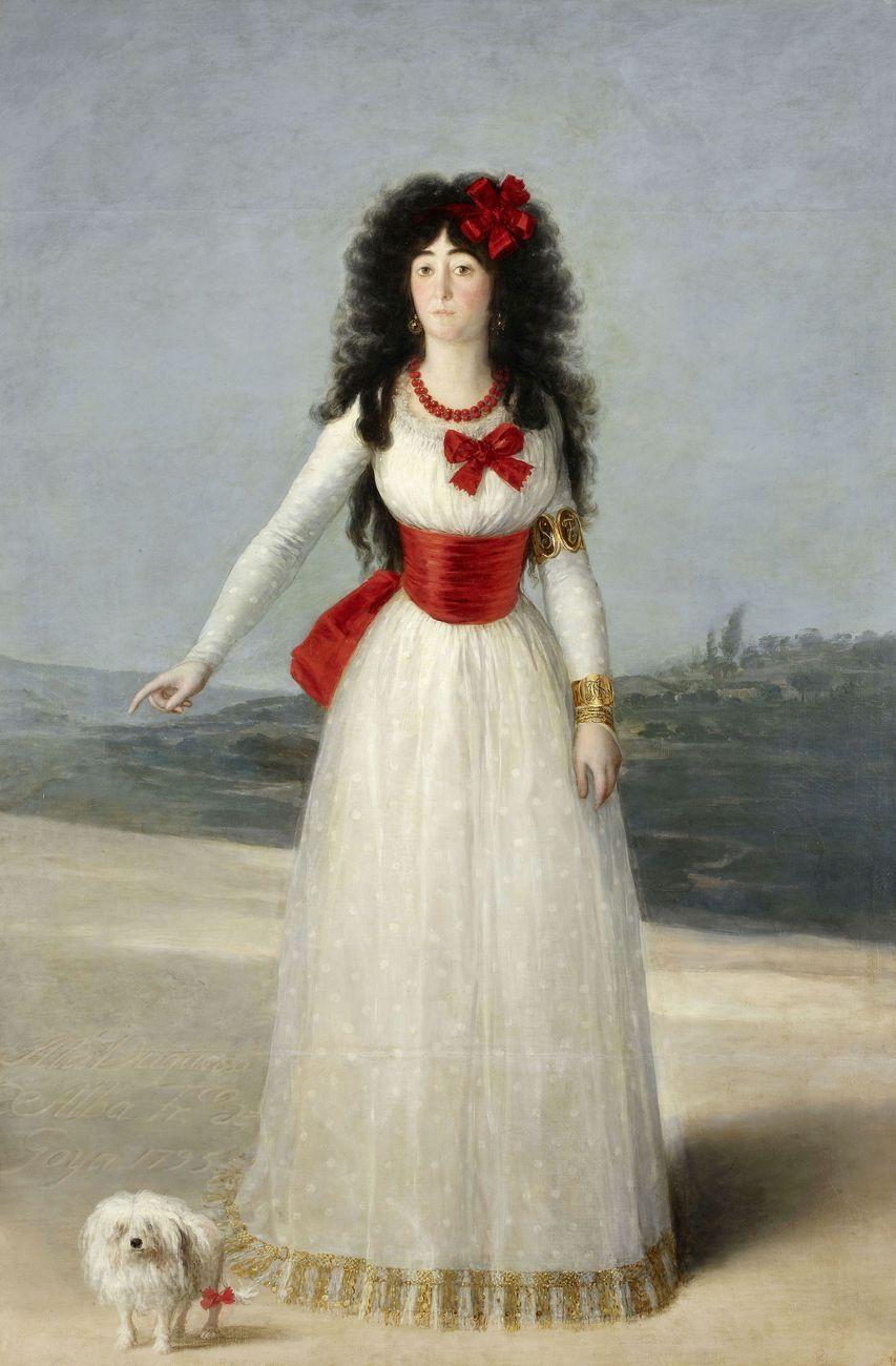 Francisco de Goya, Doña María del Pilar Teresa Cayetana de Silva Álvarez de Toledo, XIII Duquesa de Alba, 1795, olio su tela, 192x128 cm. Fundación Casa de Alba, Palacio de Liria, Madrid