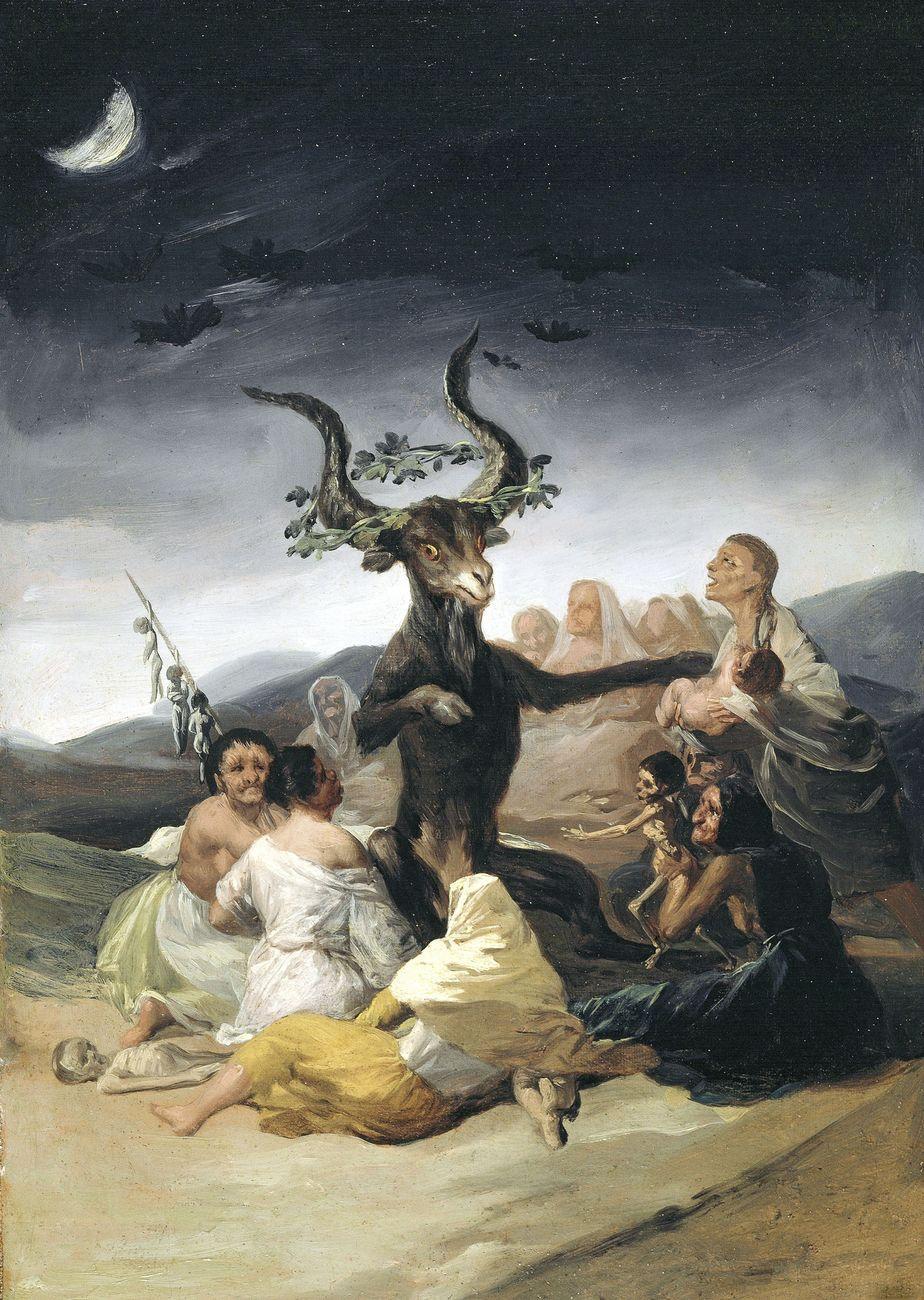 Francisco de Goya, El Aquelarre, 1797 98, olio su tela, 43x30 cm. Museo Lázaro Galdiano, Madrid