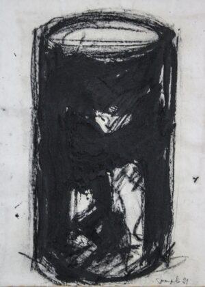 Giuseppe Spagnulo, Senza titolo, 1991, carbone ossido di ferro e sabbia di vulcano, cornice in ferro realizzata dall'artista, 80x95 cm