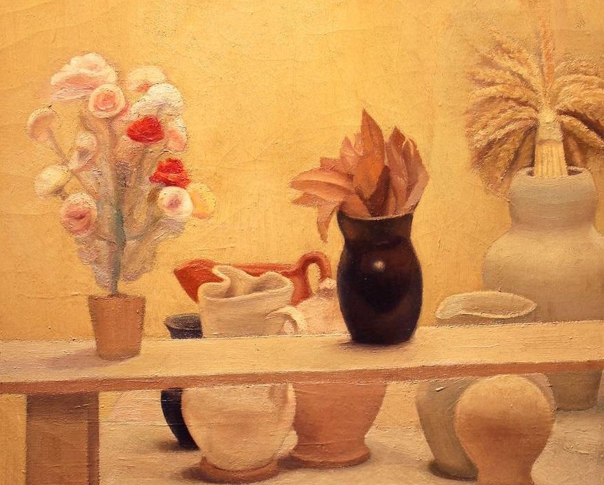 Luigi Trifoglio, Natura morta con uccellino su stele e vaso di fiori. Courtesy Berardi Arte (dettaglio)