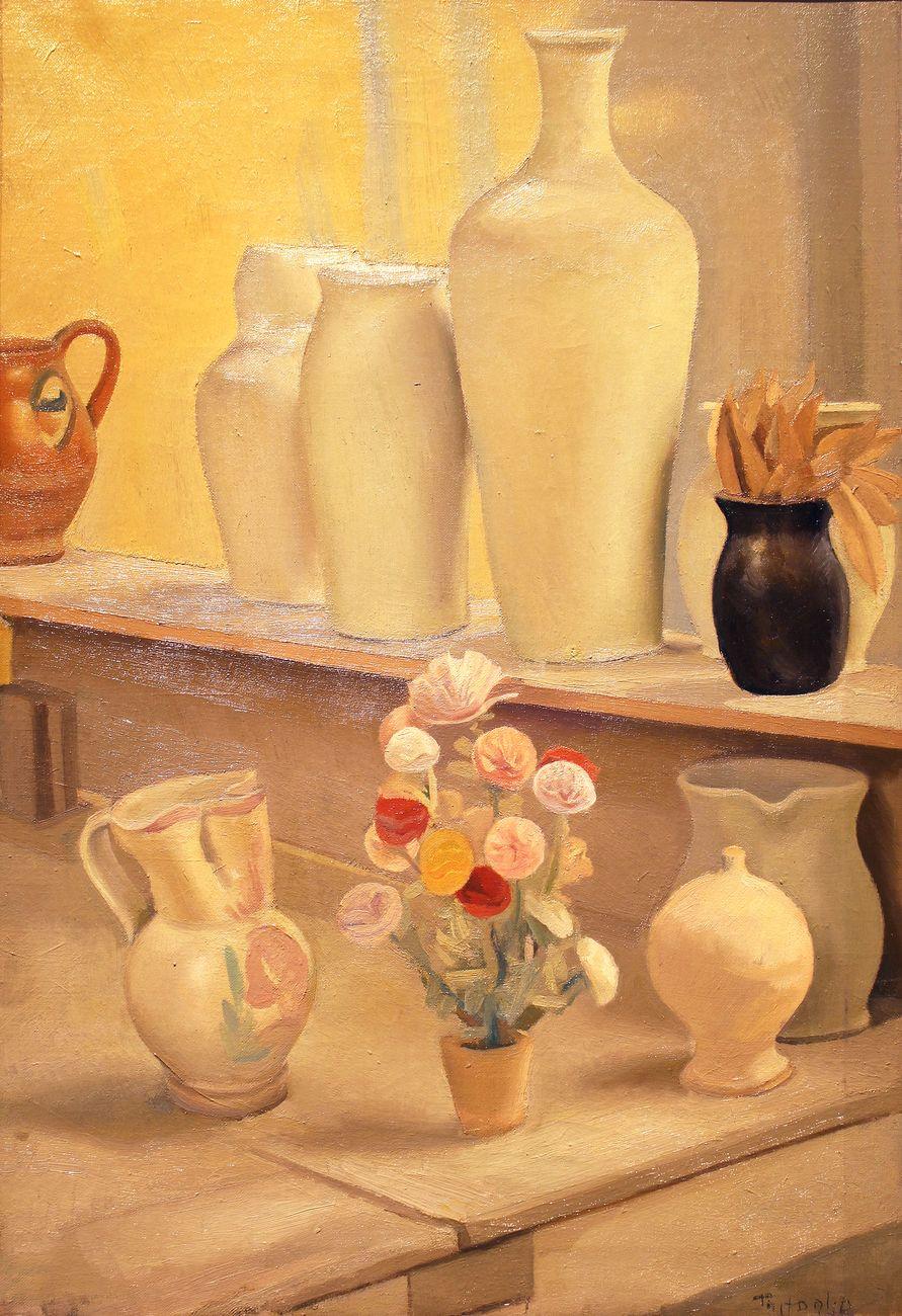 Luigi Trifoglio, Natura morta con vasi e fiori. Courtesy Berardi Arte