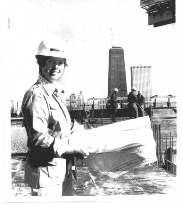 Margaret Zirkel Young on the Top Deck of Newberry Plaza, 1972