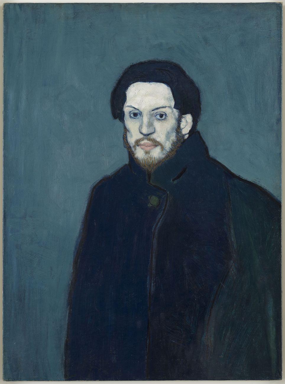 Pablo Picasso, Autoportrait, Paris, inverno 1901, olio su tela, 81 x 60 cm. Musée national Picasso, Parigi. Photo © RMN-Grand Palais – Mathieu Rabeau © Succession Picasso 2021